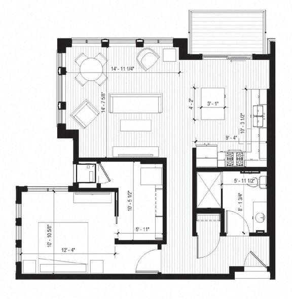Floor Plan  Martin Floorplan at Bird Town Flats, Minnesota, 55422