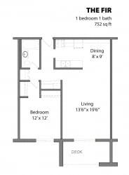1 Bed 1 Bath The Fir Floor Plan at Aspenwoods Apartments, Eagan, MN, 55123