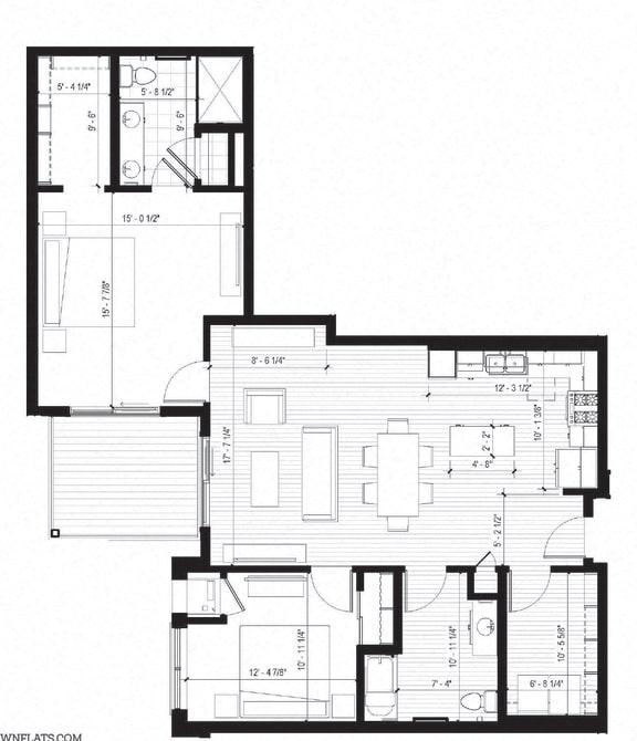 Floor Plan  Egret ACC Floorplan at Bird Town Flats, Robbinsdale, 55422