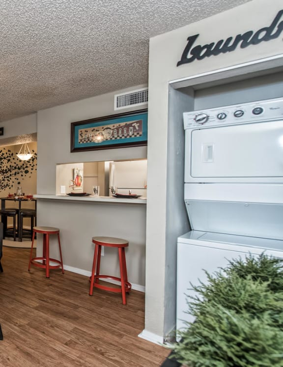 Stack-able washer and dryer at Abbey Glenn Apartments, Waco TX