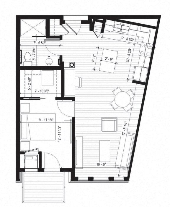 Floor Plan  Vireo Floorplan at Bird Town Flats, Robbinsdale, 55422
