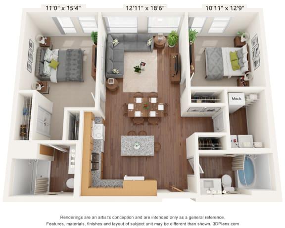 Floor Plan  Bren Road Station_3D_2 Bedroom -  B